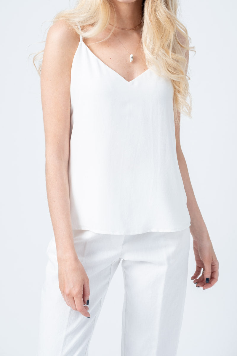 Jane Spaghetti Strap Top in Ivory