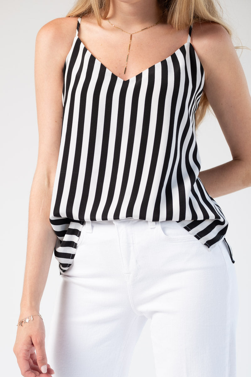 d346e252dfb5d6 L AGENCE. L AGENCE Jane Spaghetti Top in Black White. Adjustable shoulder  straps.