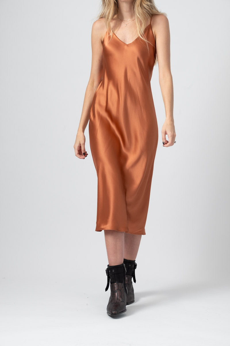 Jodie V-Neck Slip Dress in Dusty Rose