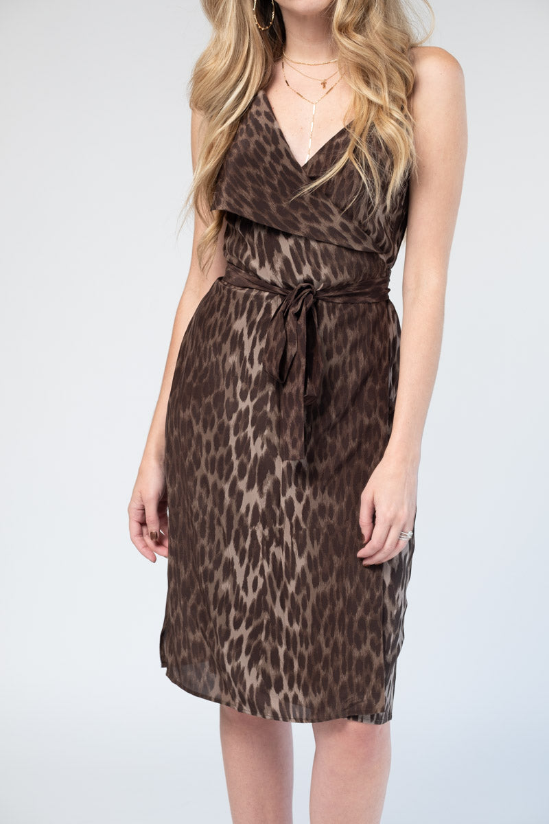 Julieta Lapel Cami Dress in Dark Olive Multi