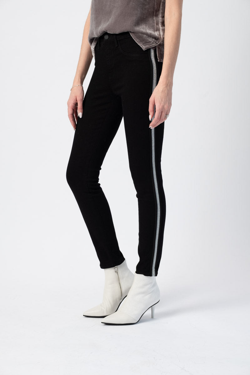 Margot High Rise Skinny Jeans with Taping in Noir