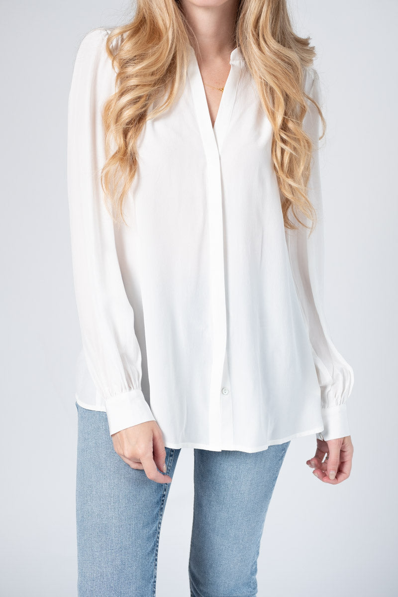 Raquel Back Button Blouse in Ivory