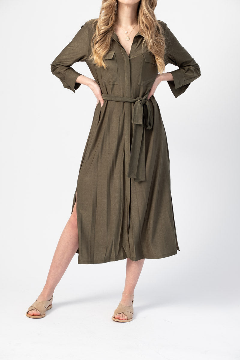 Rivi Shirt Dress in Olive