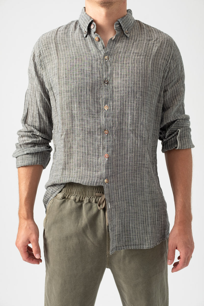Linen Shirt Filetto Nero Naturale