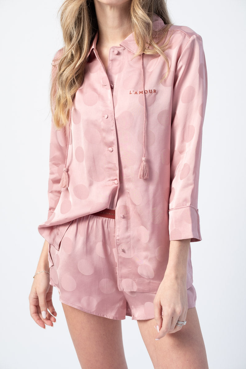 Joe Pyjama Top in Blossom Pink Polka Dot Print