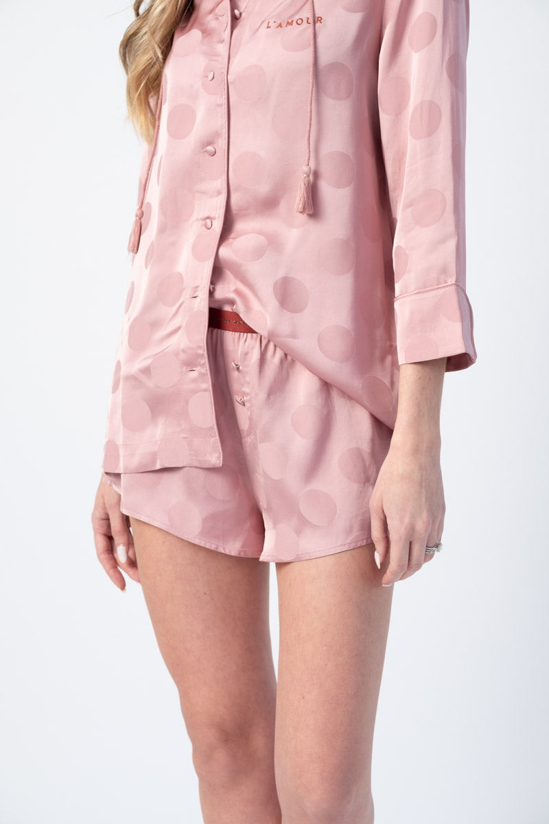 Sunday Pyjama Shorts in Blossom Pink Polka Dot Print