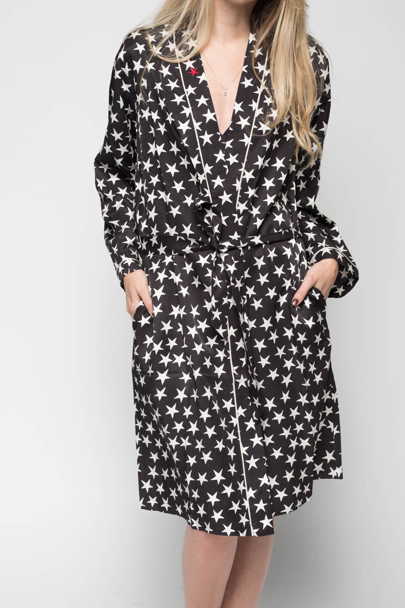 Susie Cover-up Robe in Black Stars