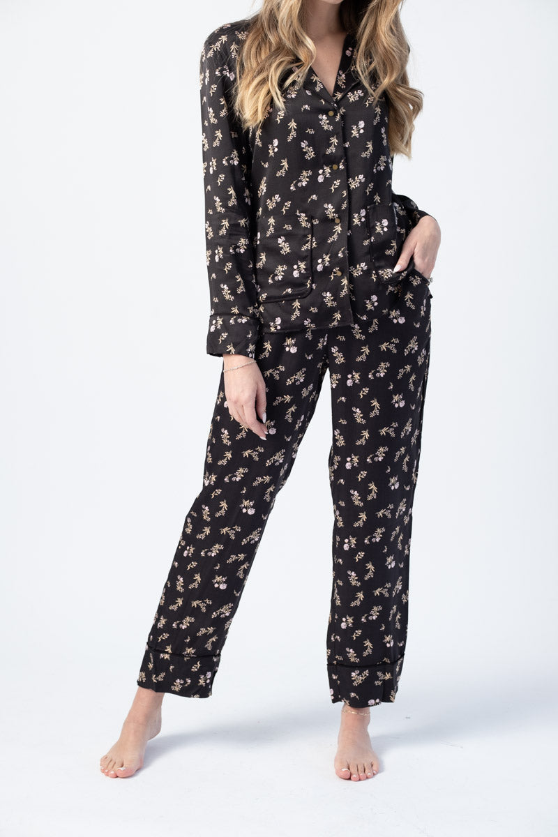 Weekend Pyjama Bottom in Black Prairie Flower Print