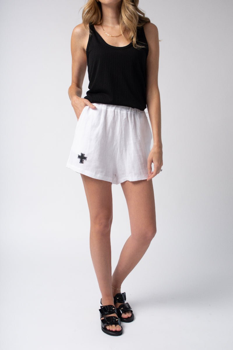 Linen Shorts in White with Cross Appliqué