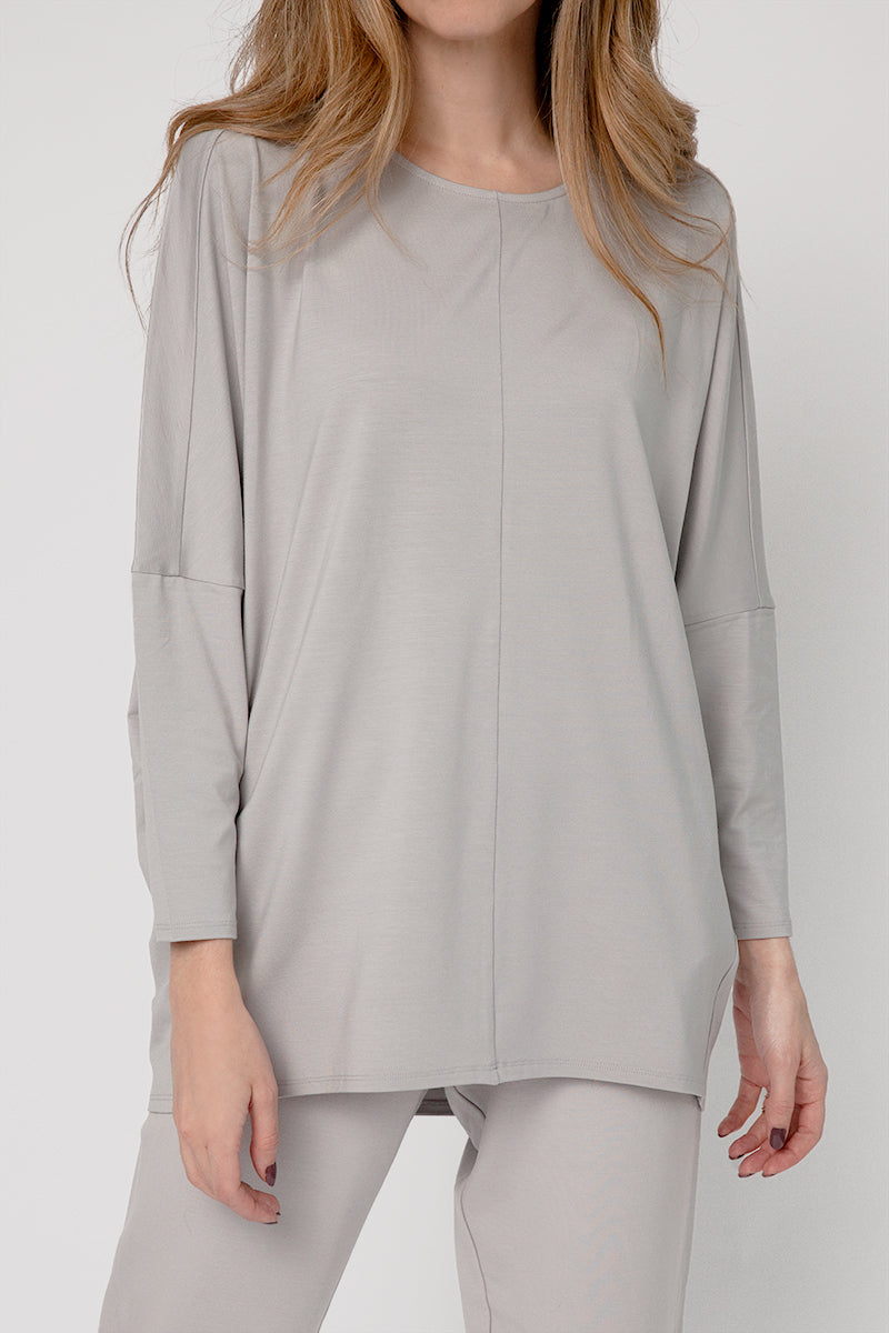 Novara Jersey Top in Light Grey