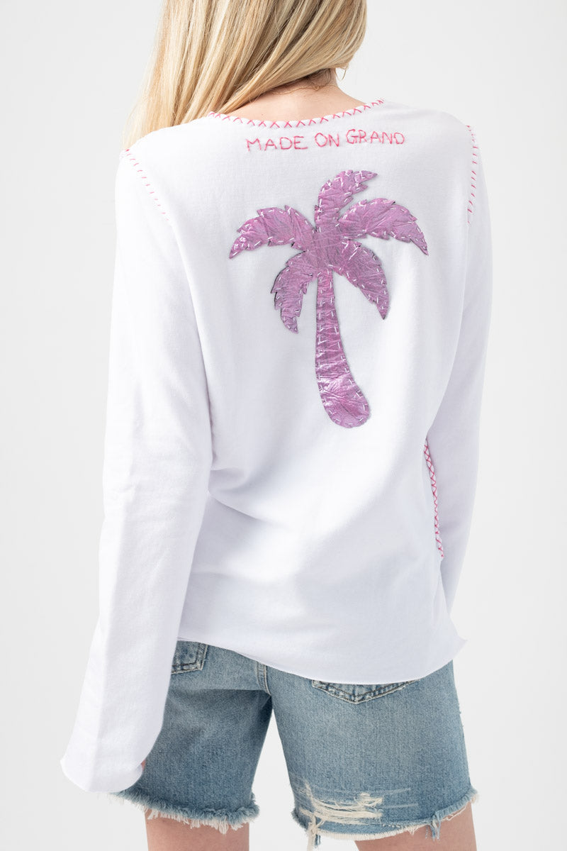 Long Sleeve Cotton Sweatshirt with Pink Palm Tree in White