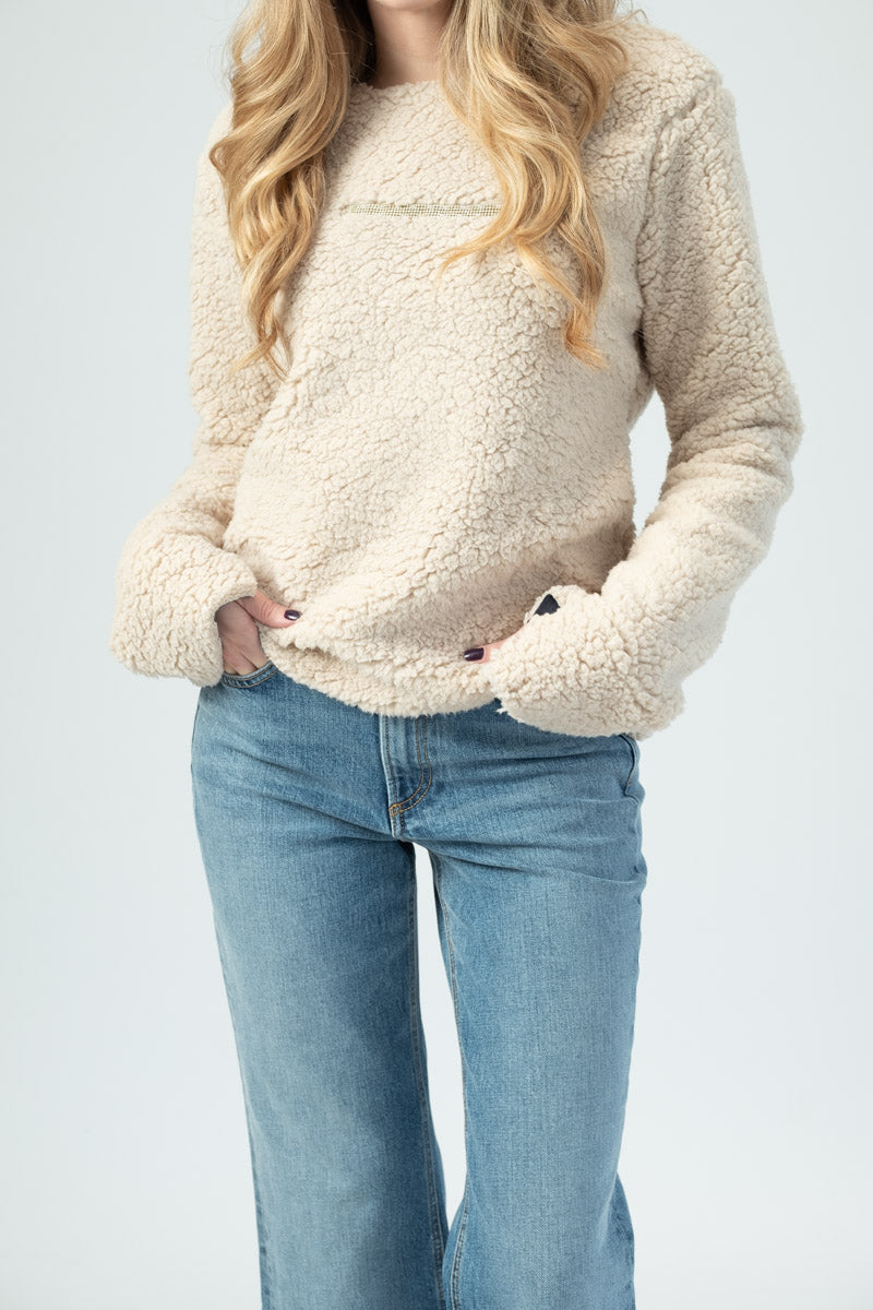 Cream Shearling Sweatshirt with Gold Sparkle Bar