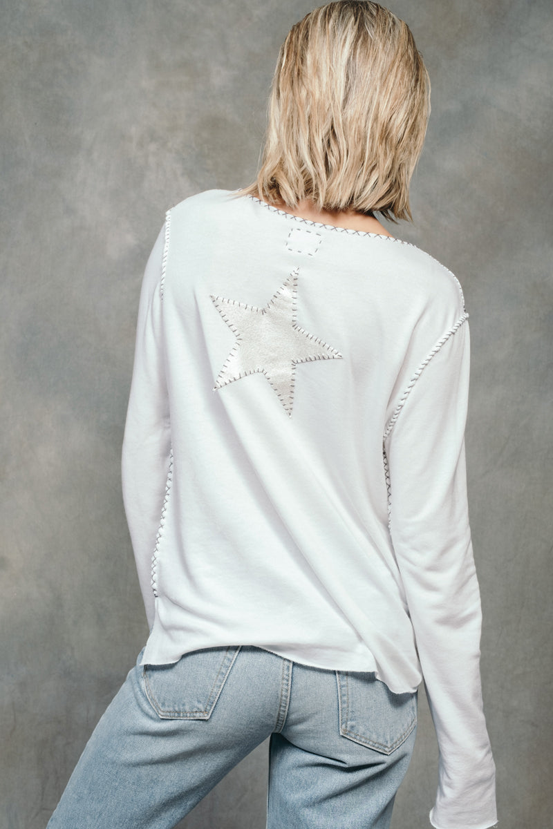 White Long Sleeve Star Sweatshirt