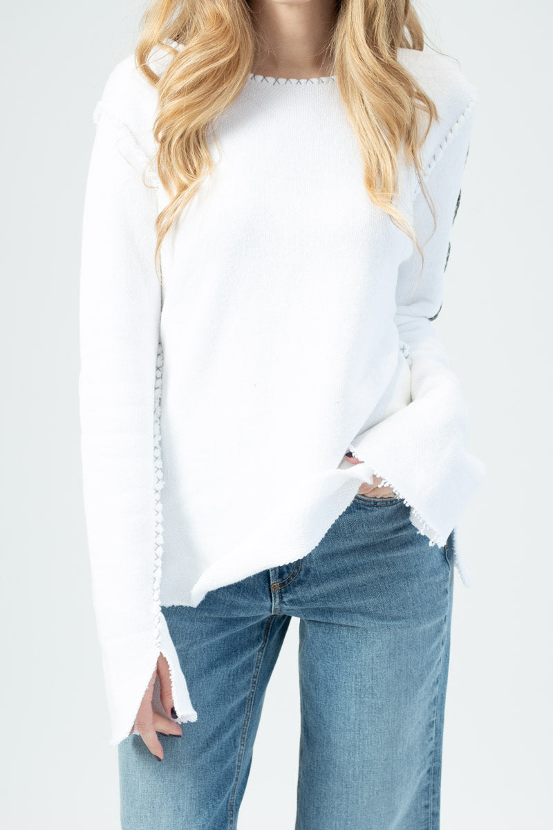 White Sweatshirt LOVE Sleeve