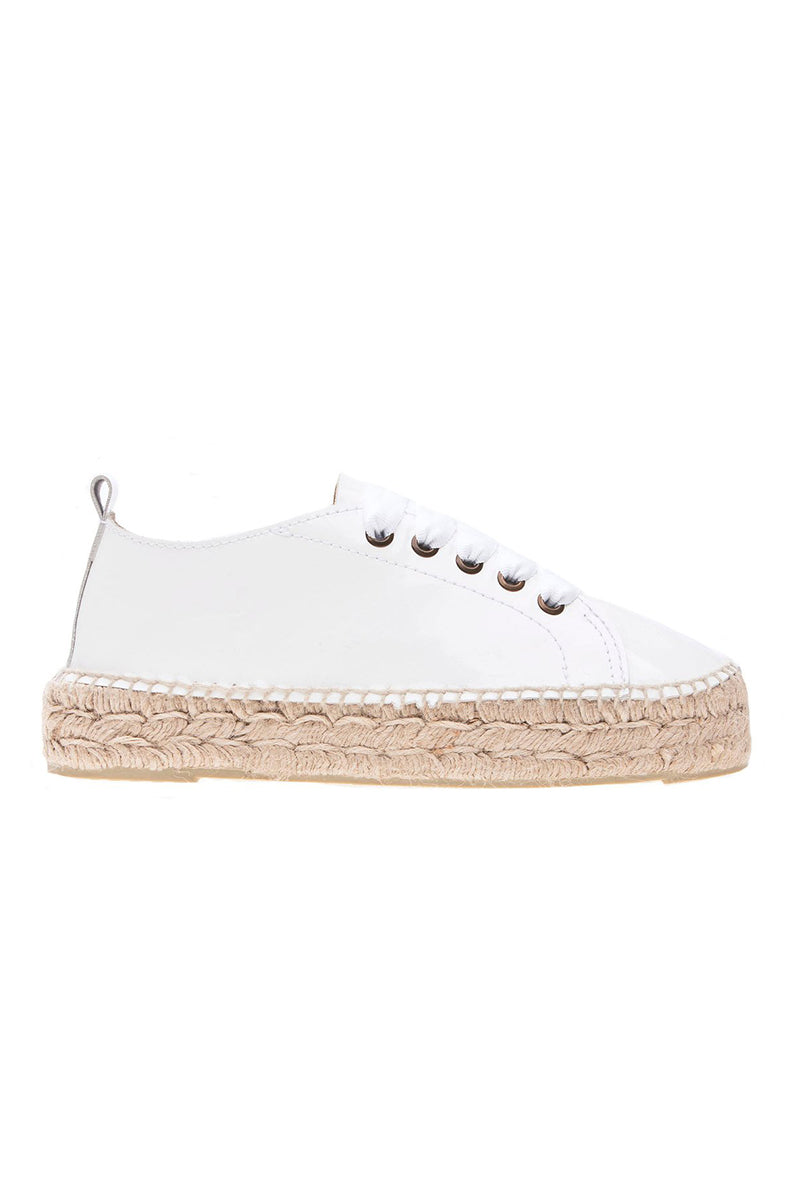 Patent Leather Sneakers in Off White