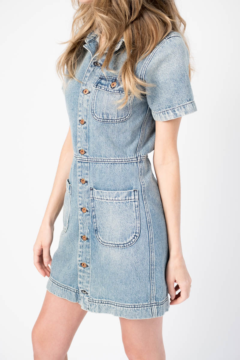 Finn Button Up Dress in River Wash