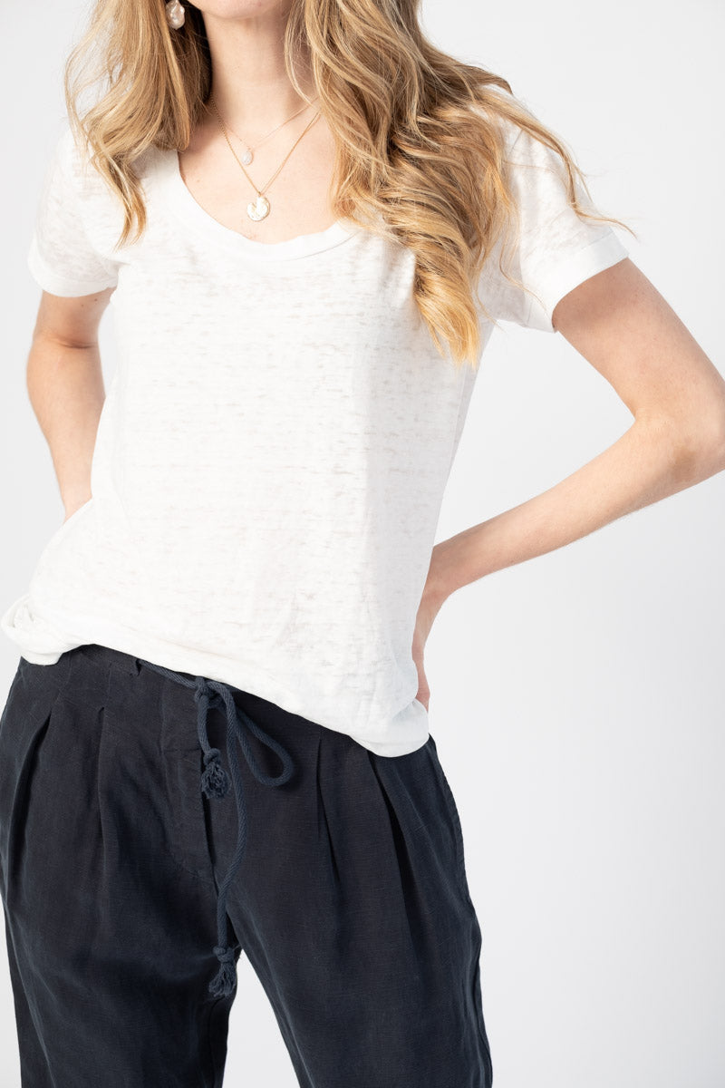 Irene Scoop Neck Tee in White