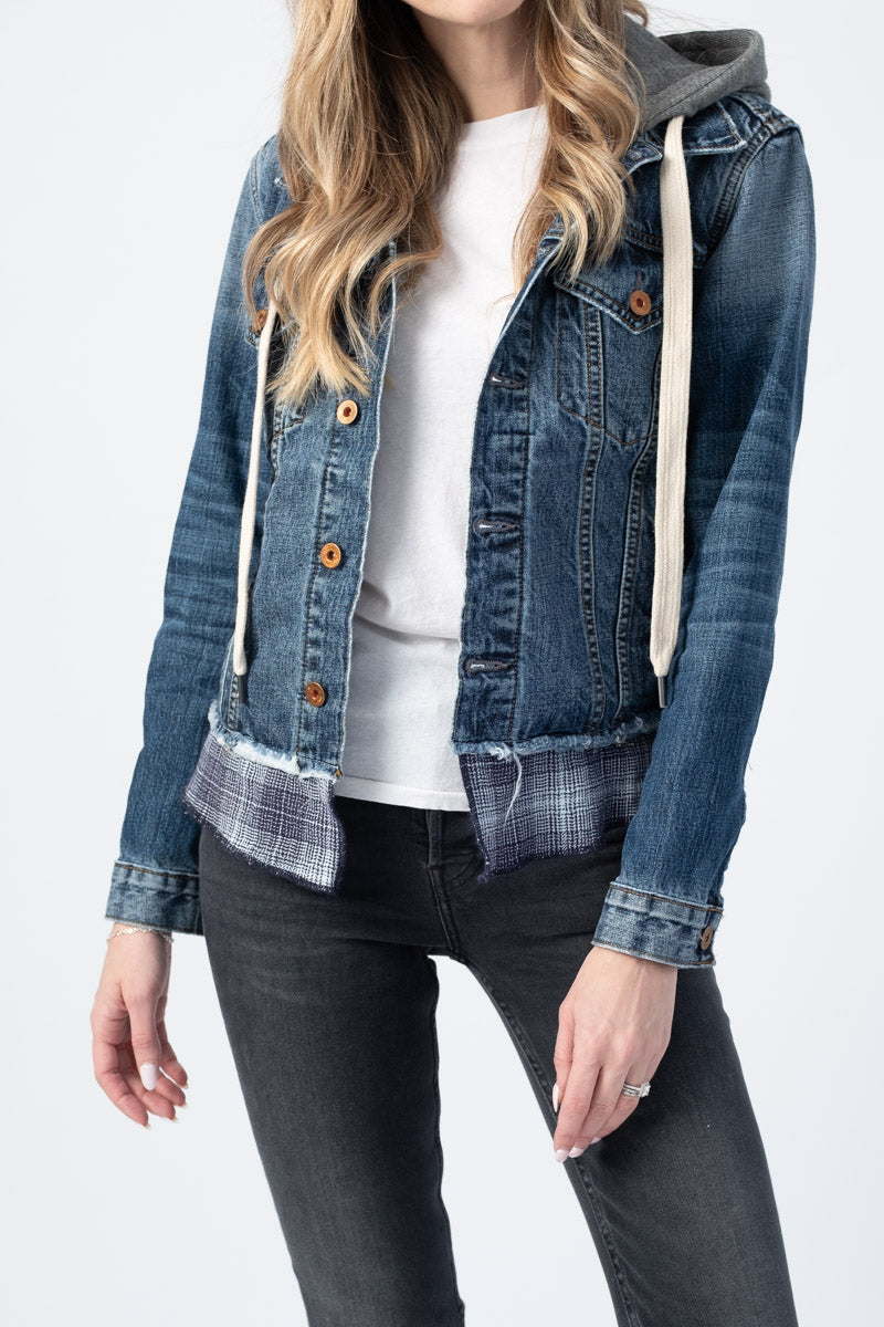 Jenny Denim Jacket With Hood in Navy and White Plaid