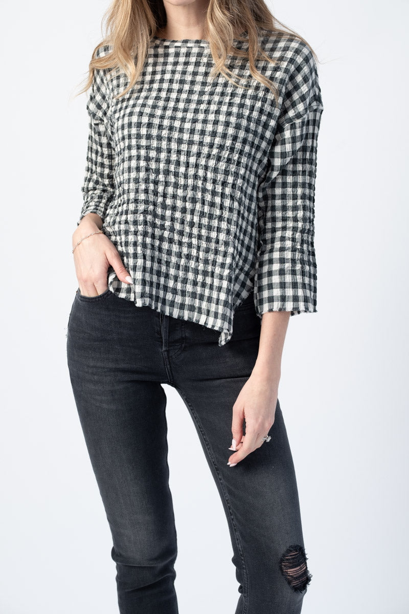 Maria Long Sleeve Tunic in Ivory Plaid