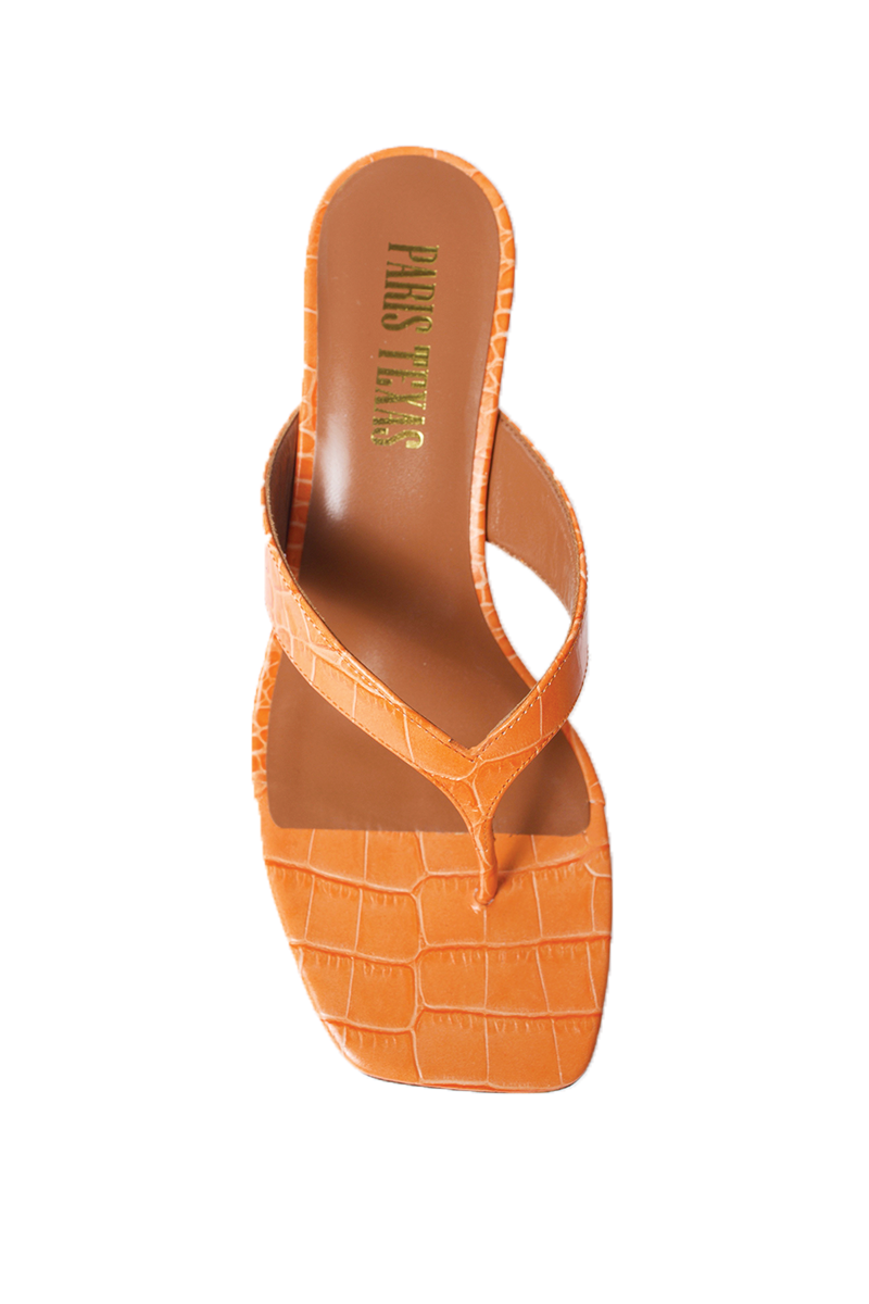 Moc Croco Thong Sandals in Orange