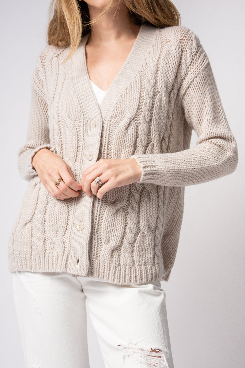 Cashmere Cable Cardigan in Sand