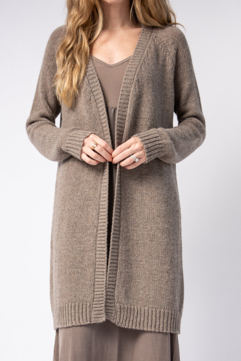 Cashmere Duster Cardigan in Brownish