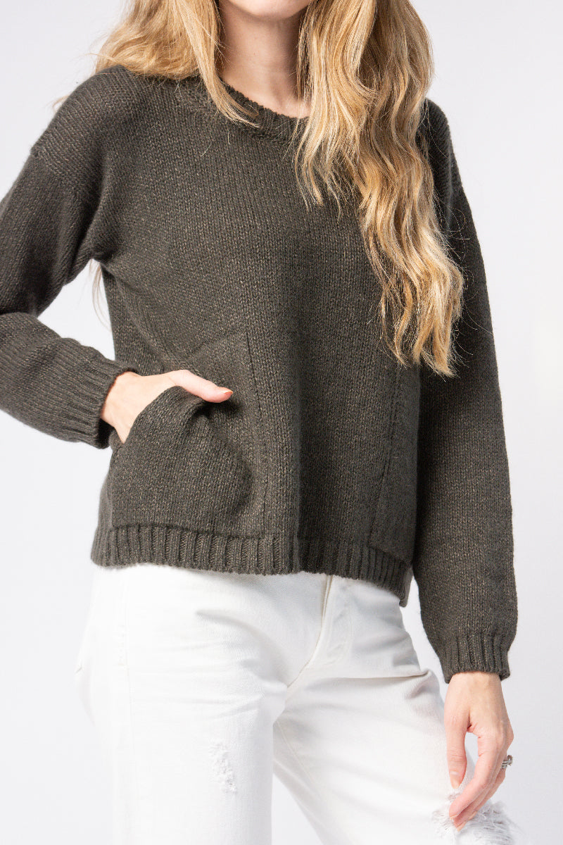 Cashmere Linen Sweater in Moss