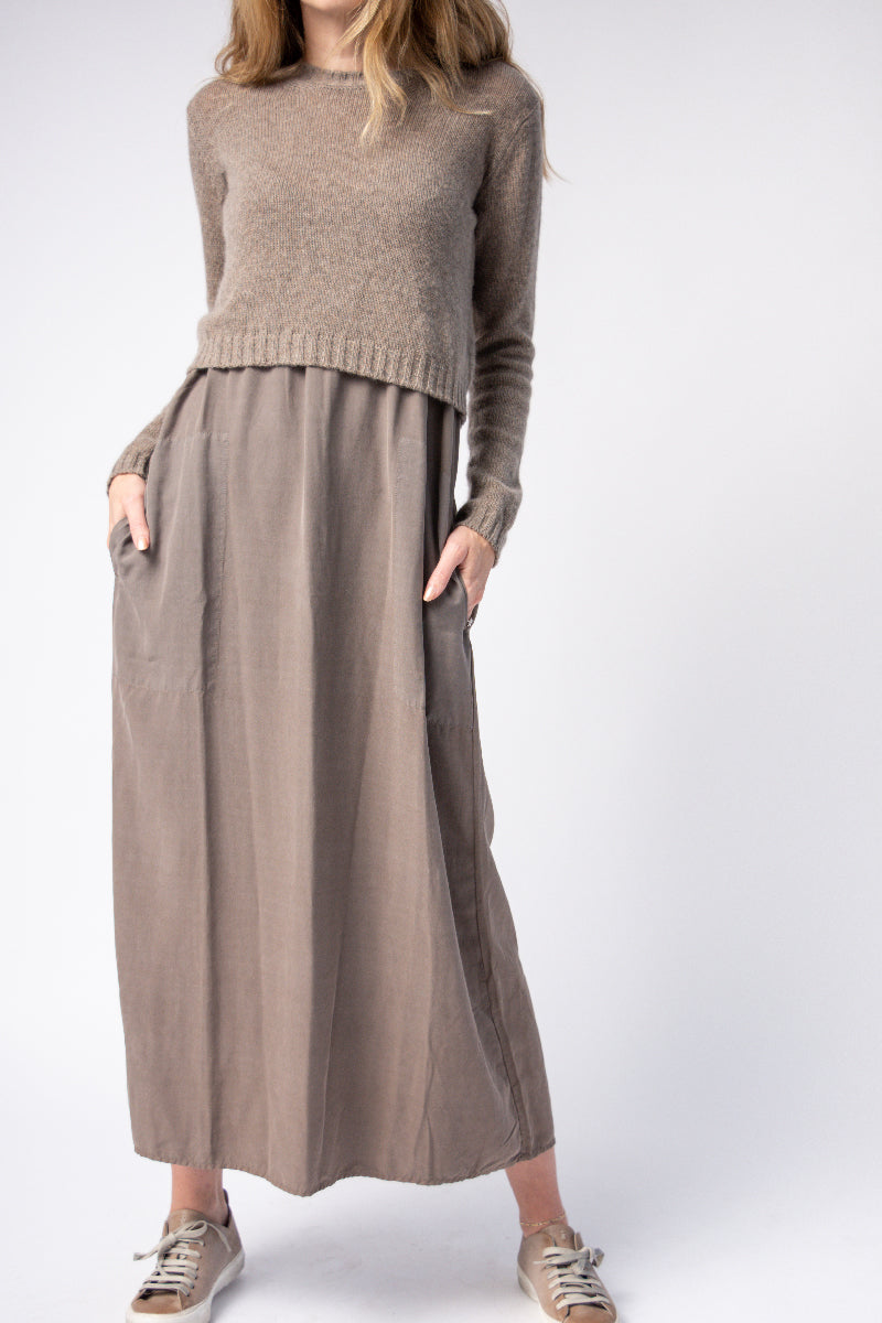 Silk Dress With Cashmere Top in Brownish