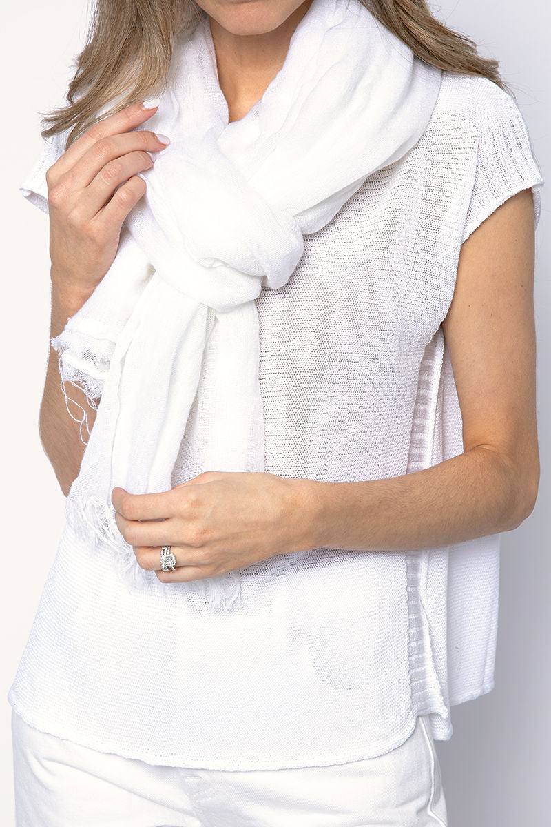 Net Cashmere Scarf in White