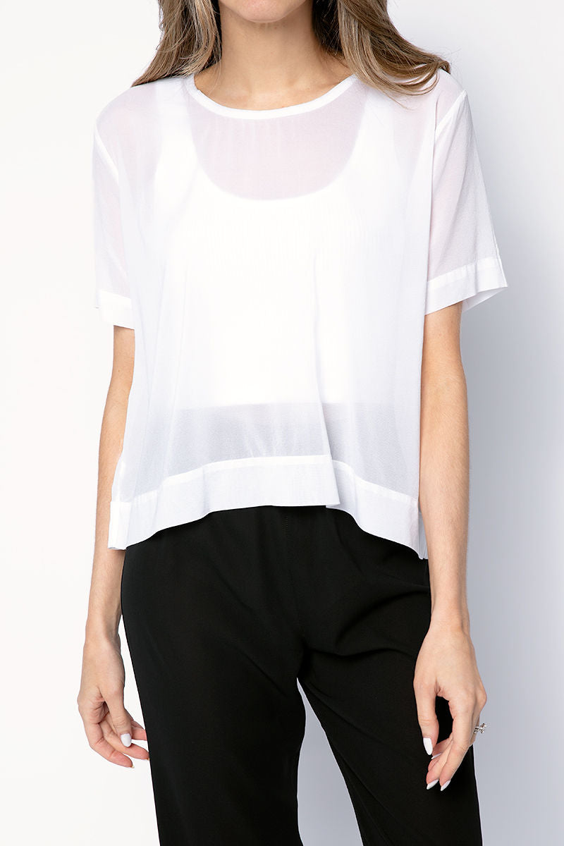 Silk Short Sleeve Top in White