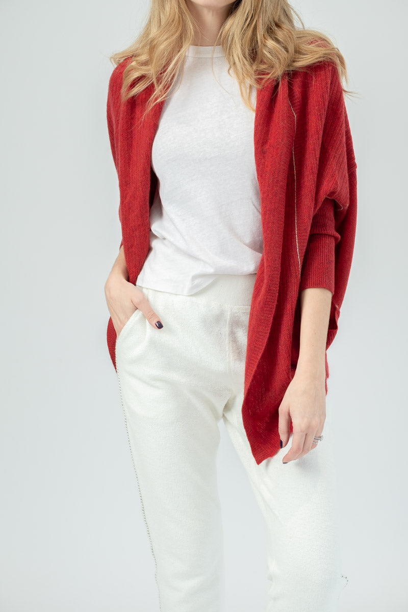 Cashmere Cocoon Cardigan in Red Pepper