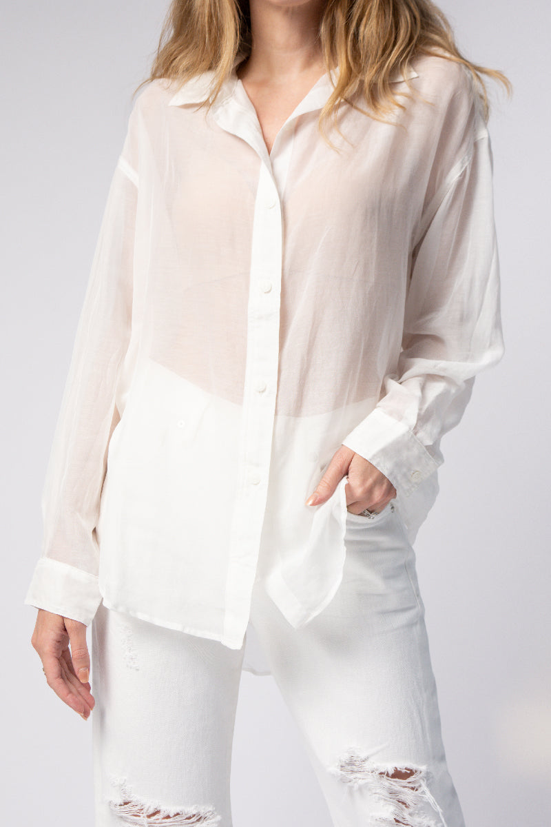 Sheer Boyfriend Shirt in White