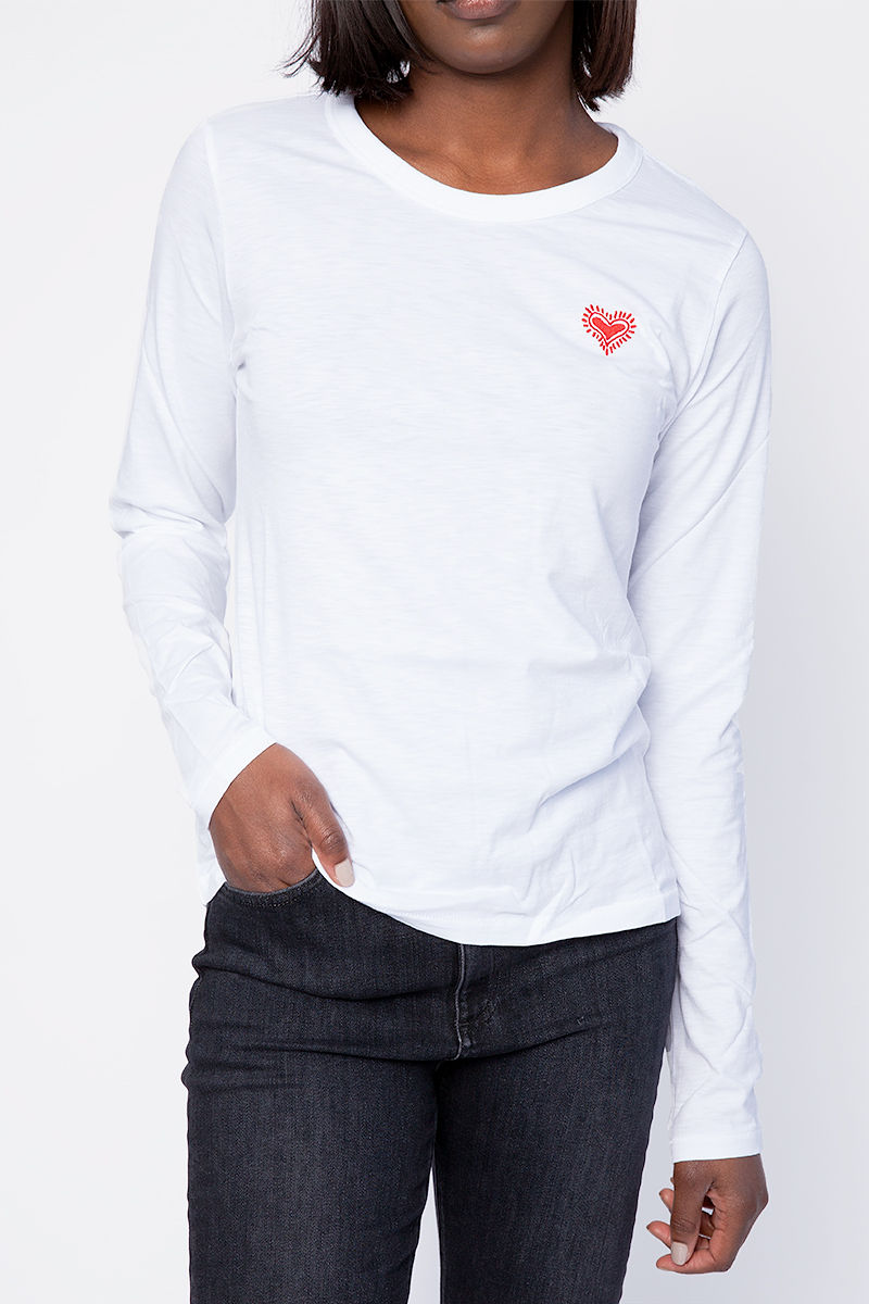 Embroidered Heart Tee in White
