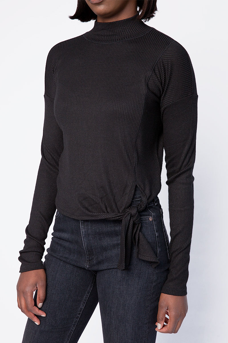The Rib Knit Tie Turtleneck Top in Black