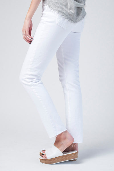 High Rise Ankle Crop in White