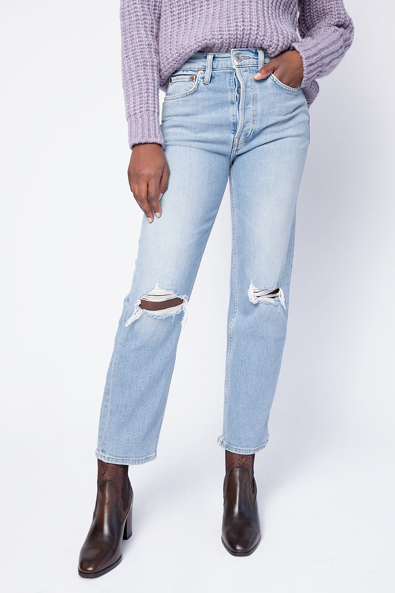 70s Stove Pipe Jeans in Light Destroyed