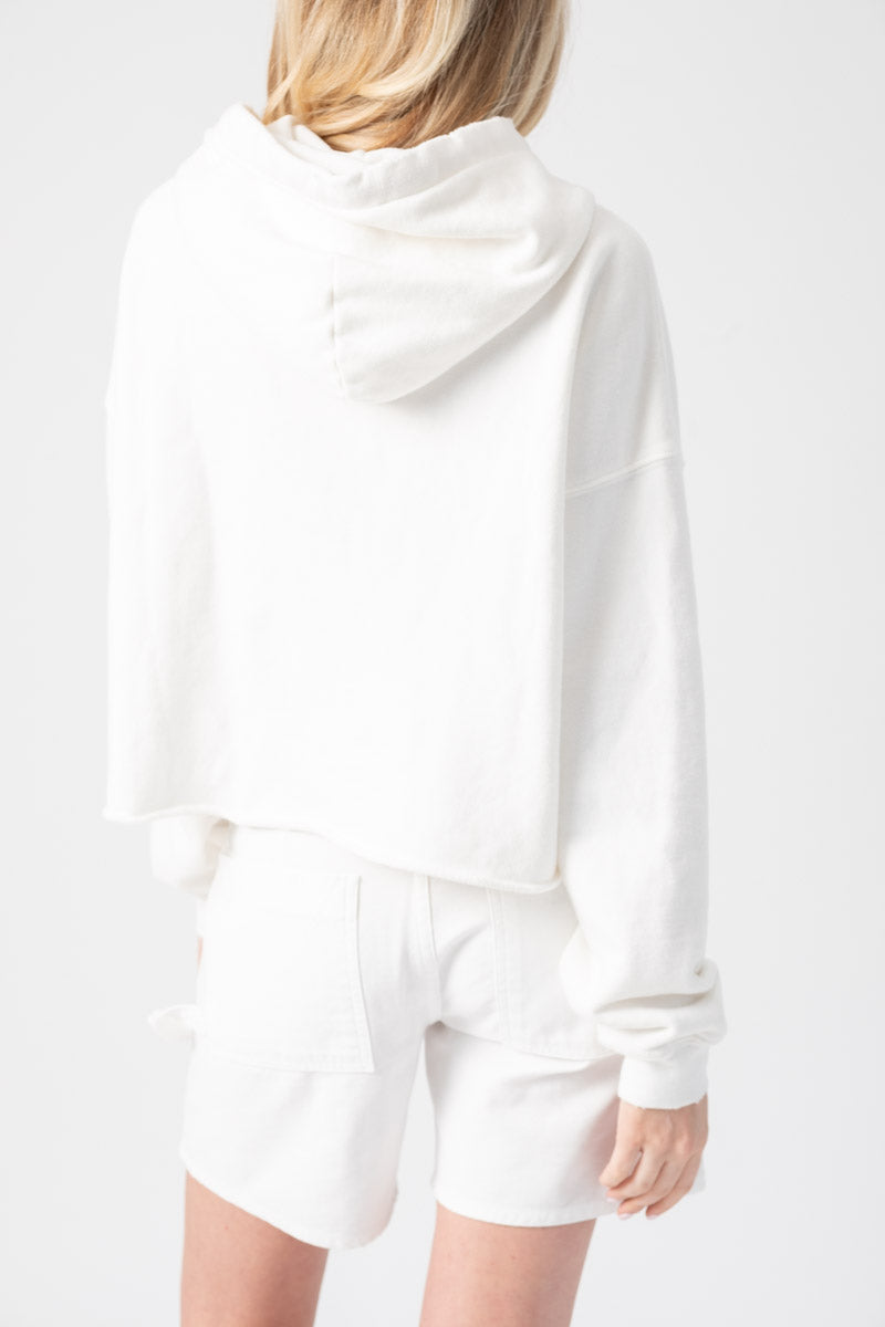 Cropped Raw Hem Hoodie in Off-White