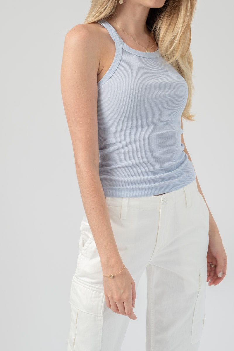 Ribbed Tank in Powder Blue