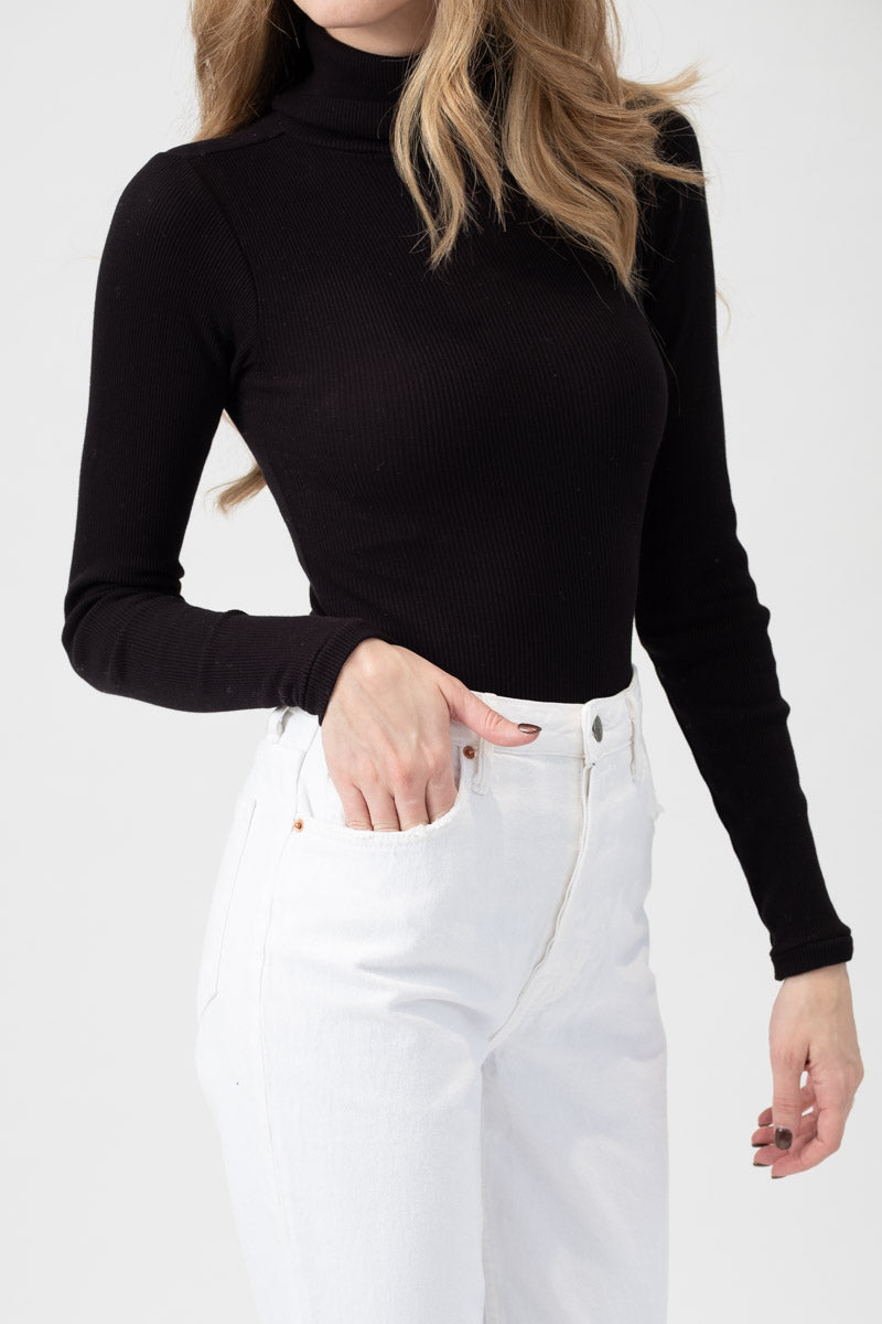 Rib Turtleneck Bodysuit in Black