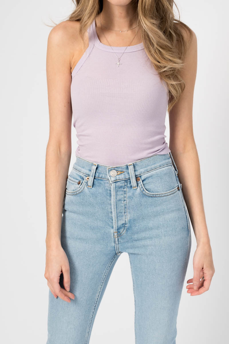 Ribbed Tank in Lilac