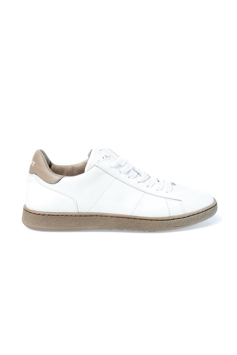 a76fc4d7074 White and Taupe Leather Sneaker ...