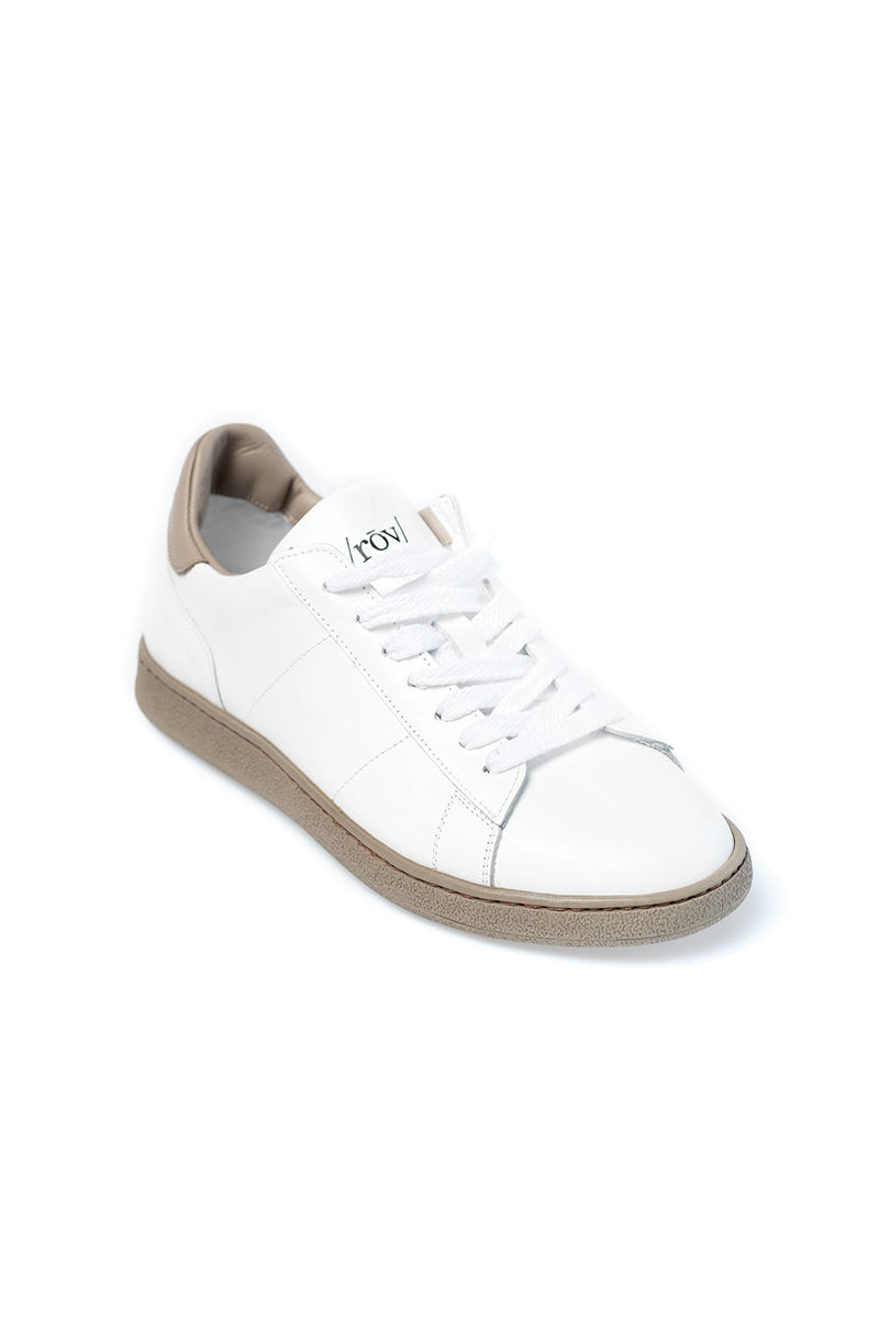 White and Taupe Leather Sneaker
