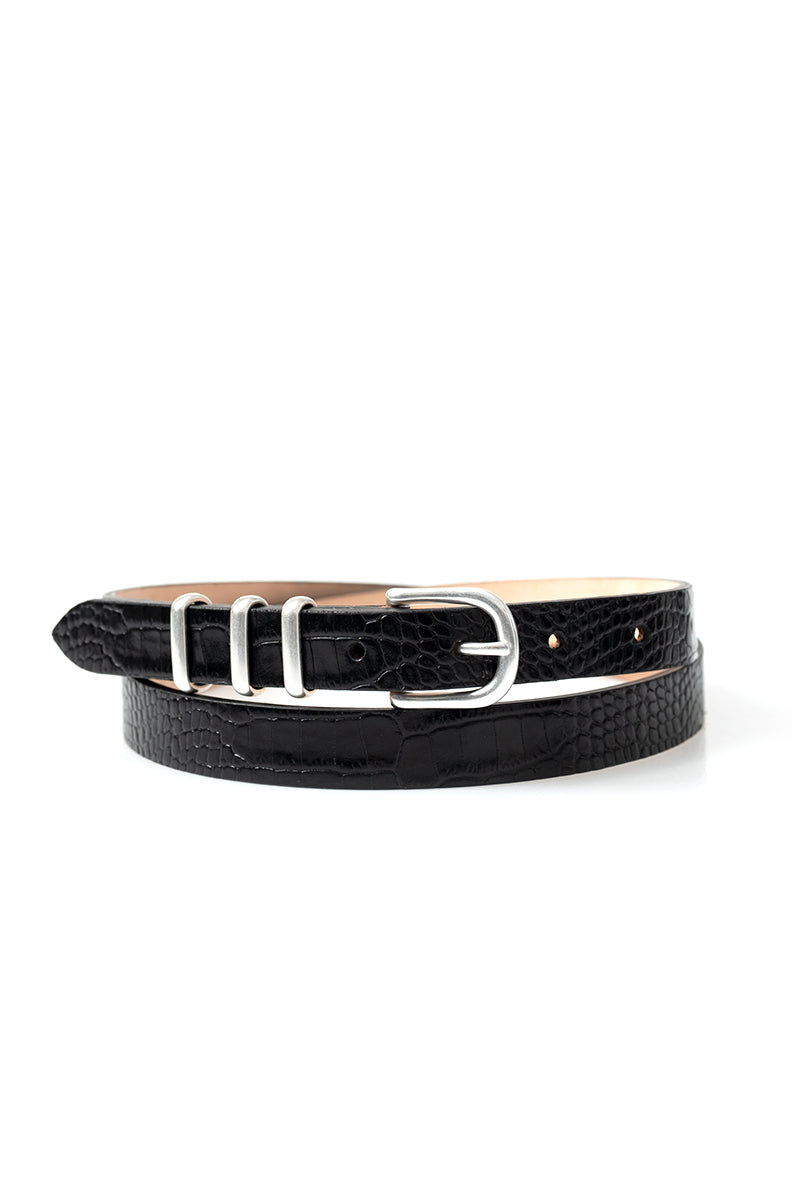 Jet Belt in Black Cow Leather