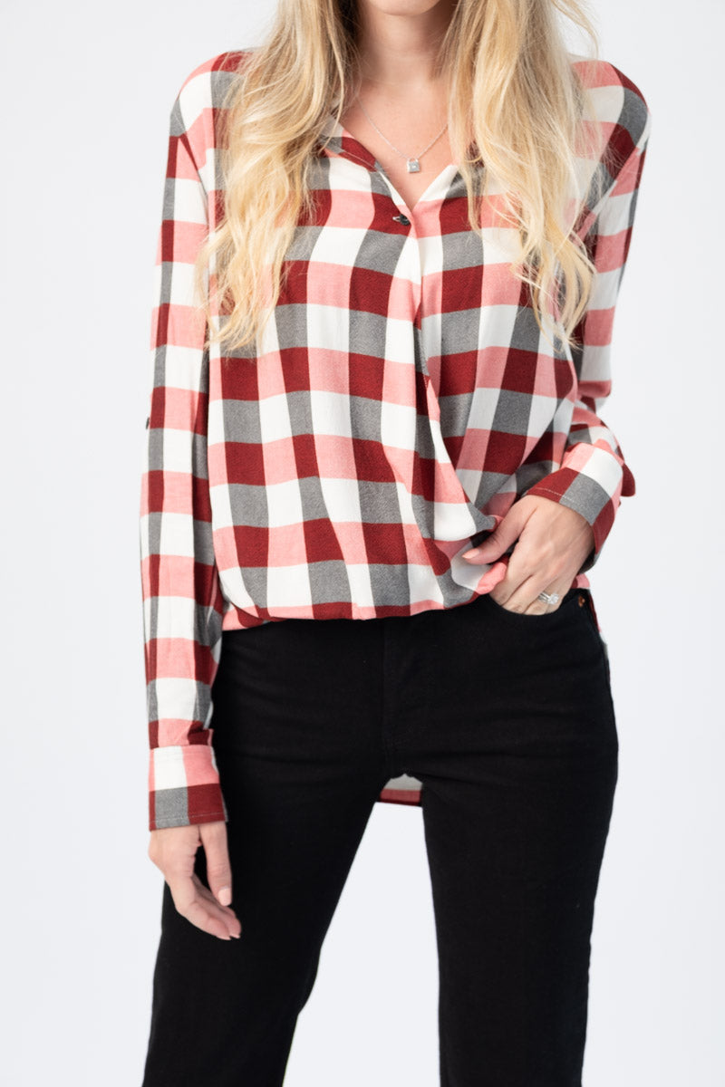 Camile Surplice Long-Sleeve Shirt in Red and Ivory Plaid