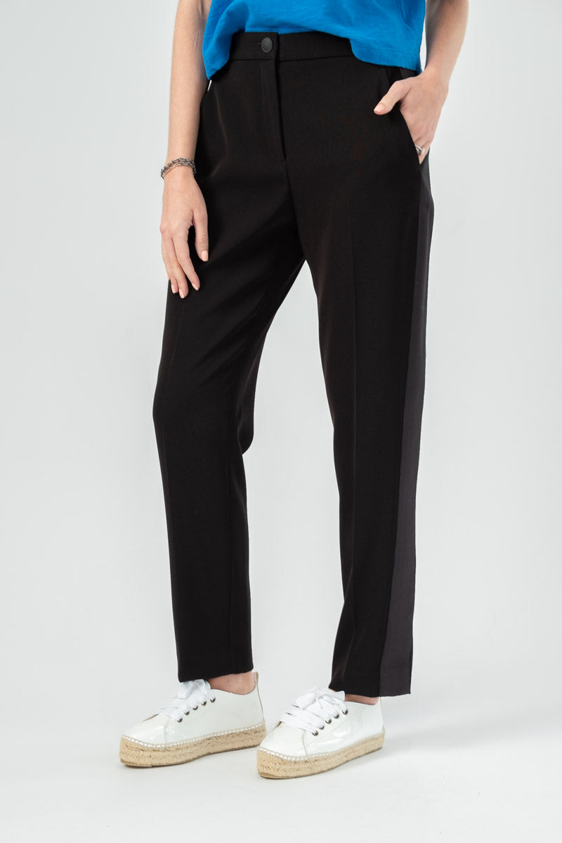 Meki Side Stripe Pant in Black