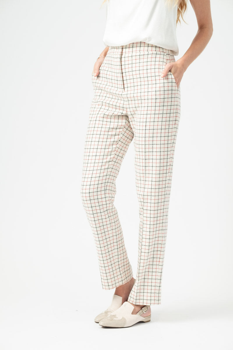 Poppy High Waisted Pant in Ivory Check