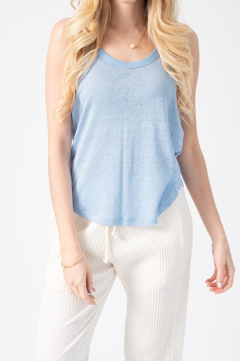 Gage Racerback Tank in Spring Blue
