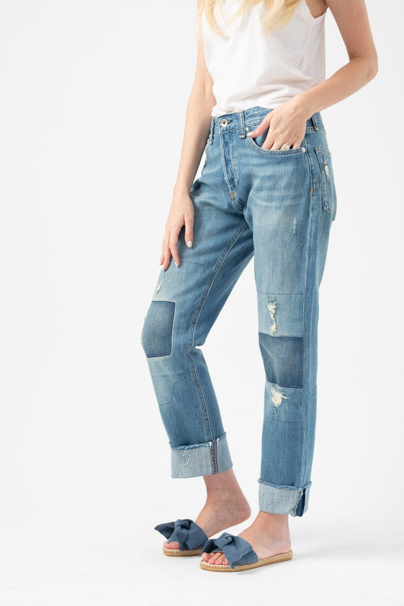 Rosa Mid-Rise Boyfriend Cuffed Jeans with Patchwork