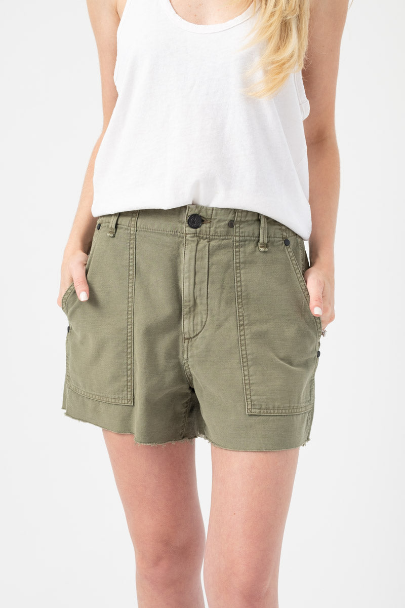 Super High-Rise Army Short in Olive Green