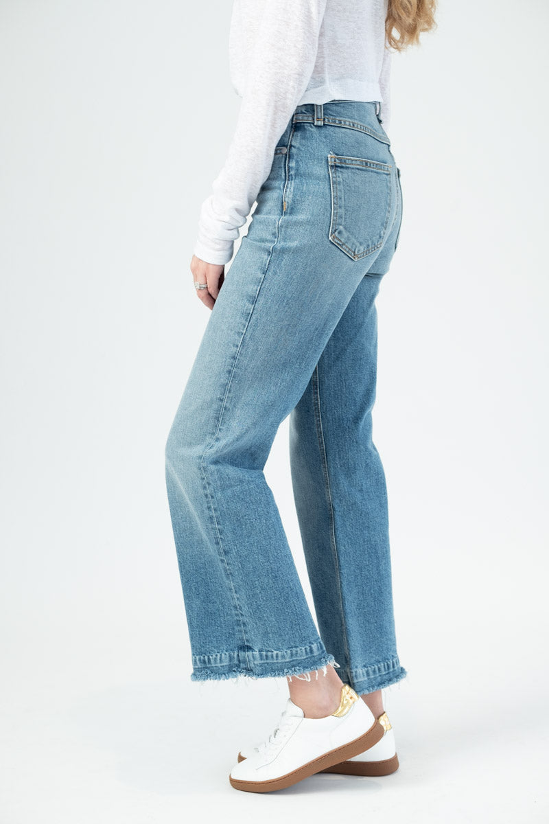 Ankle Justine Wide Leg Jean in Baby